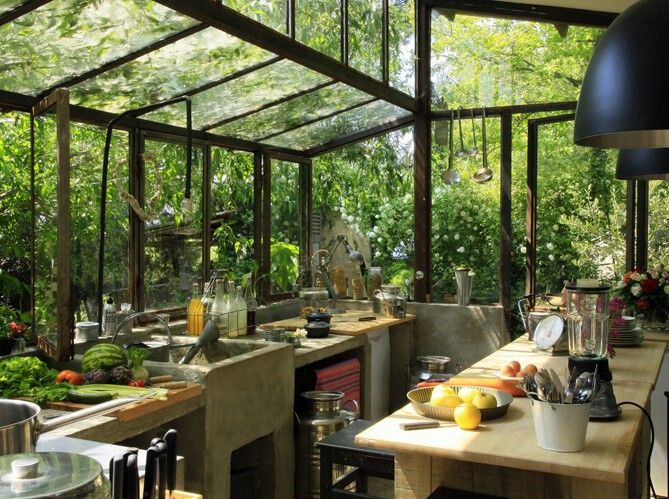 Green, great view of nature | Greenhouse kitchen, Bohemian style .
