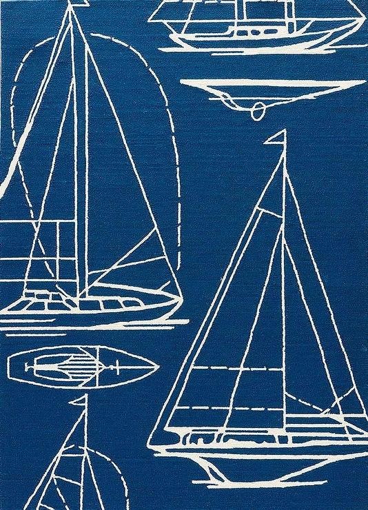 Nautical Boats Blue and White R