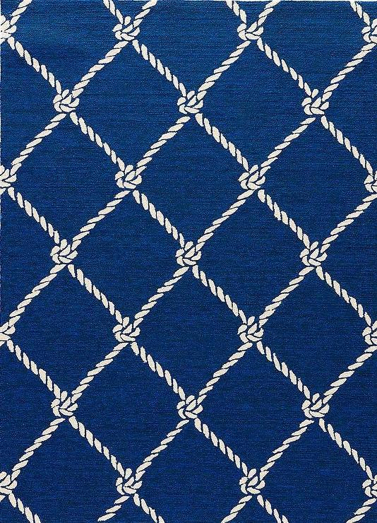 Blue and White Nautical Rope Pattern R