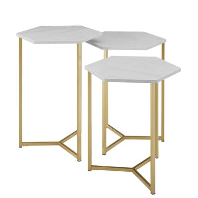 Triple Hex White Faux Marble & Gold Nesting Tables | Pier