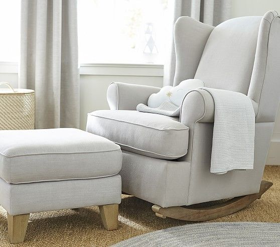 Wingback Convertible Rocking Chair & Ottoman   Rocking chair .