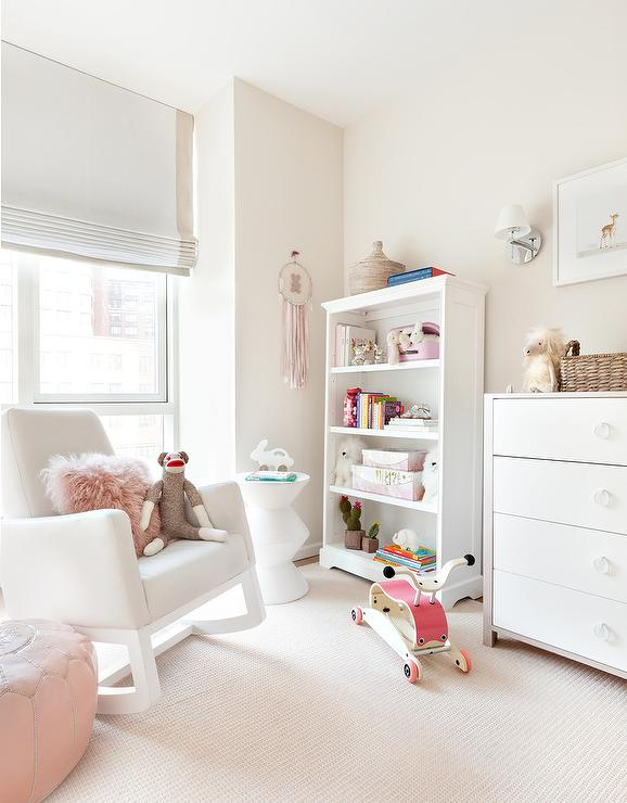 Nursery White Rocking Chair with Pink Pouf - Transitional - Nurse