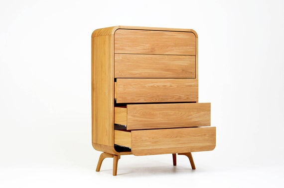 Chest of Drawers High Dresser in Oak Bedroom Dresser with 5 | Et