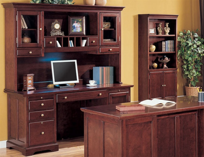 Home Office Credenza with Hutch in Rich Cherry Finish by Coaster .