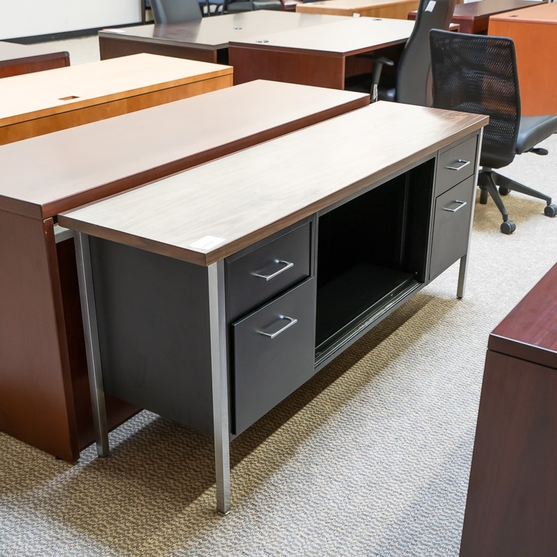 Used Metal Office Credenza (Black & Chrome) CRB1536-022 | Office .