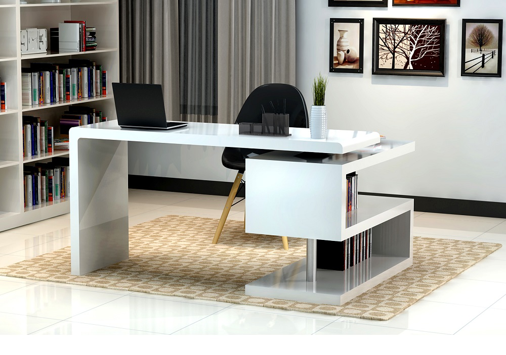 White A33 Modern Office Desk By J&M by J&M Furnitu