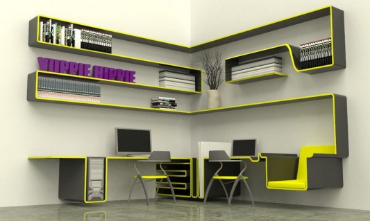 Minimalist Modern Home Office Furniture Concept for Small Spaces .