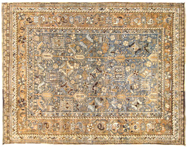 Vintage Persian Shiraz Oriental Rug, In Small Square Size, With .