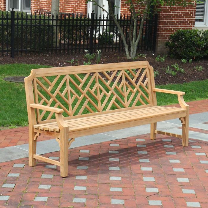 Chippendale Outdoor Bench - 6 ft. Teak Benches | Country Casual Te