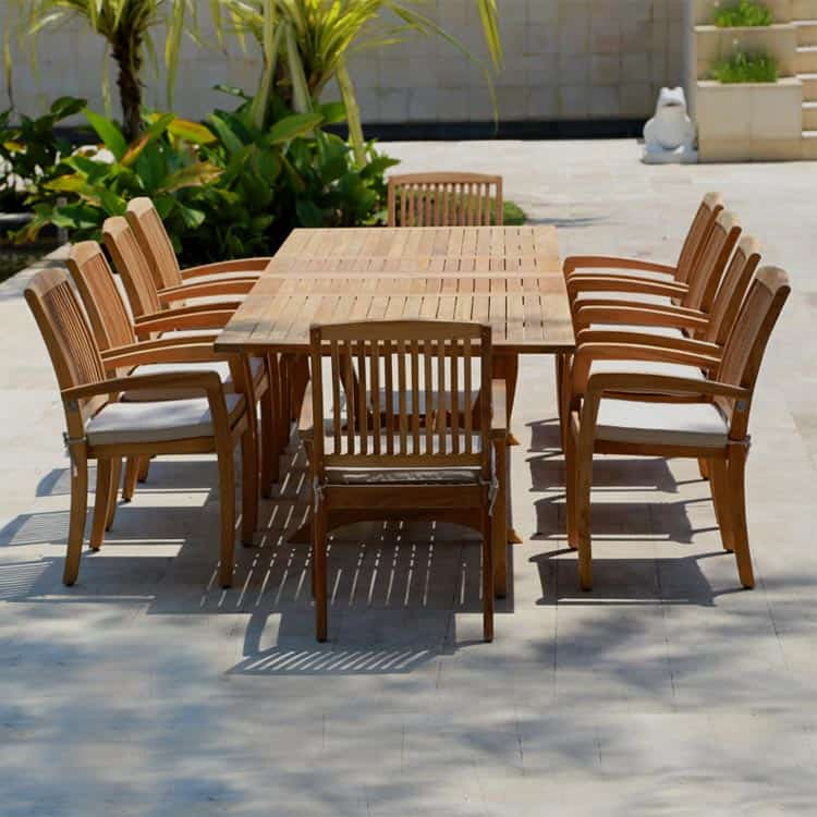 11 Pc Teak outdoor Dining Table set – Milano Rectangle table 10 .
