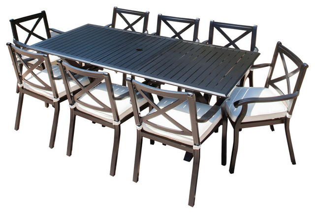 GDF Studio 9-Piece Eowyn Cast Aluminum Outdoor Dining Set With .