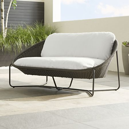 Morocco Graphite Oval Loveseat with White Cushion + Reviews .