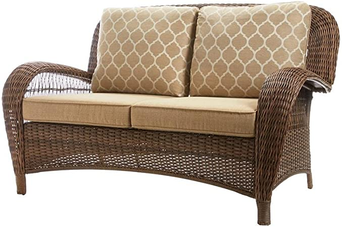 Amazon.com: Hampton Bay Beacon Park Wicker Outdoor Loveseat with .