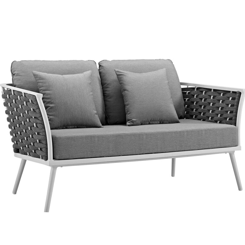 Ivy Bronx Rossville Outdoor Loveseat with Cushions | Wayfa