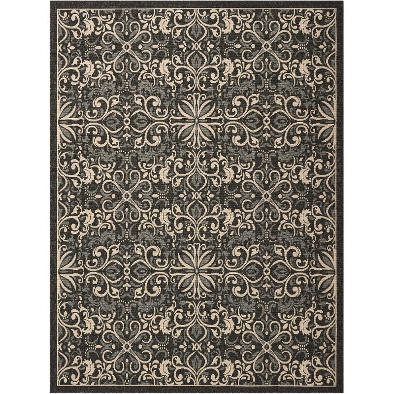 8 x 10 Large Charcoal Gray Indoor-Outdoor Rug - Caribbean   RC .