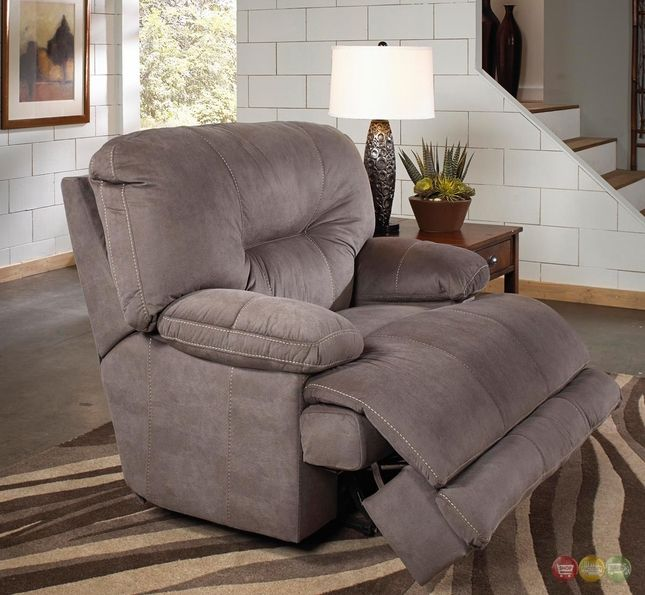 Noble Slate Gray Lay Flat Cuddler Recliner Oversized Reclining .
