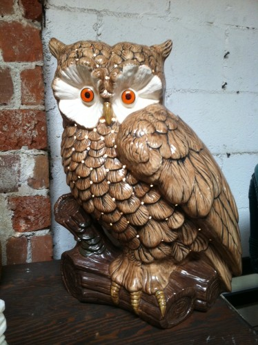 Who Goes There   Large 1970s Pottery Owl Lamp — Casa Victoria .