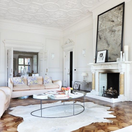 Modern living room with parquet flooring | Living room white .
