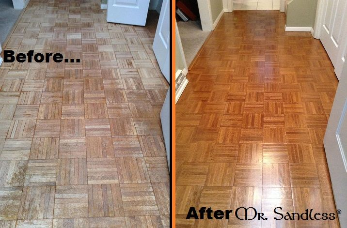 Mr. Sandless before and after of a parquet floor! www.MrSandless .