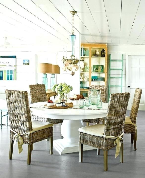 coastal dining room sets table beach style white wicker parsons .