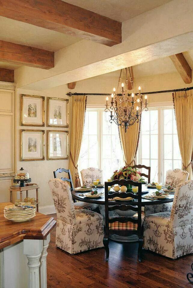 French Country with parson's chairs; round table | French country .