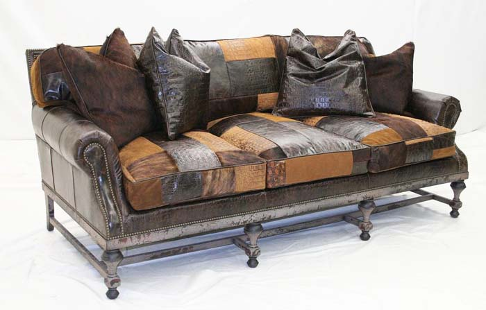 Patchwork Designer Leather Sofa: Western Passi