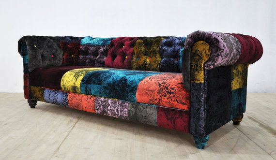 Chesterfield patchwork sofa gothic velvet by namedesignstudio .