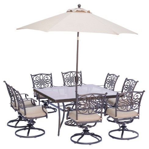 Traditions 11pc Square Metal Patio Dining Set W/ Umbrella & Stand .