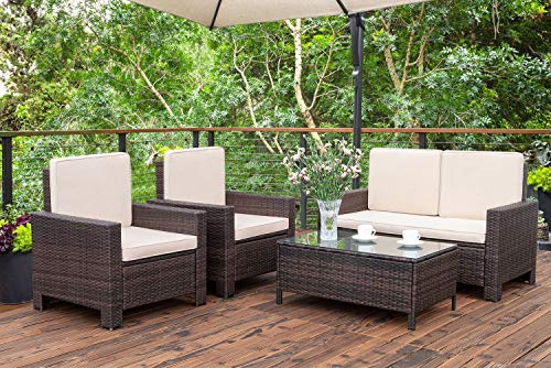 5 Pieces Outdoor Patio Furniture Sets Rattan Chair Wicker .