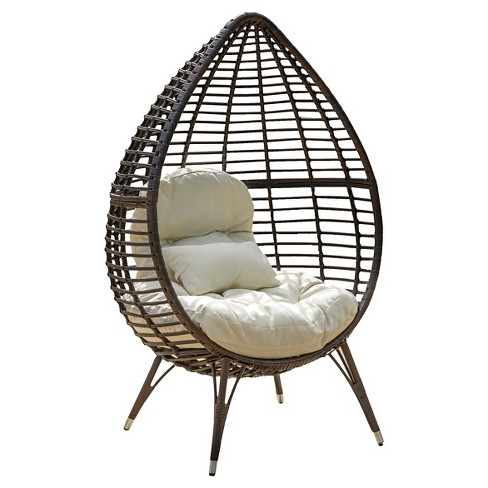 Cutter Teardrop Wicker Patio Lounge Chair With Cushion - Brown .