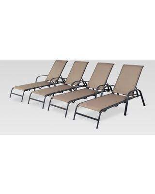Don't Miss Deals on 4pk Stack Sling Patio Lounge Chair - Tan .