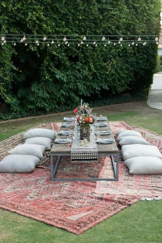 Rug Ideas & Creative Ways To Use Rugs | Outdoor dinner parties .
