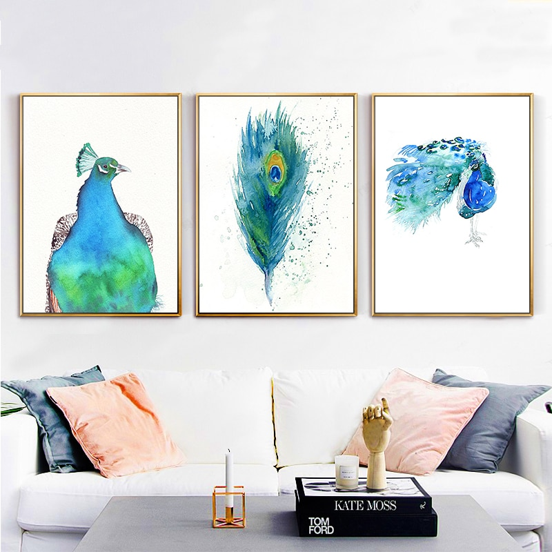 Posters And Prints Blue Peacock Wall Art Canvas Painting Retro .