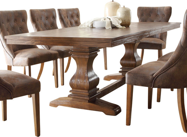 Homelegance Marie Louise Double Pedestal Dining Table, Rustic .