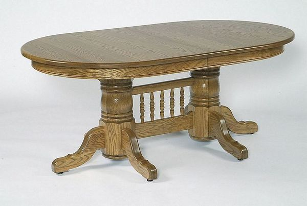 Double Pedestal Oval Dining Table with Center from DutchCrafte