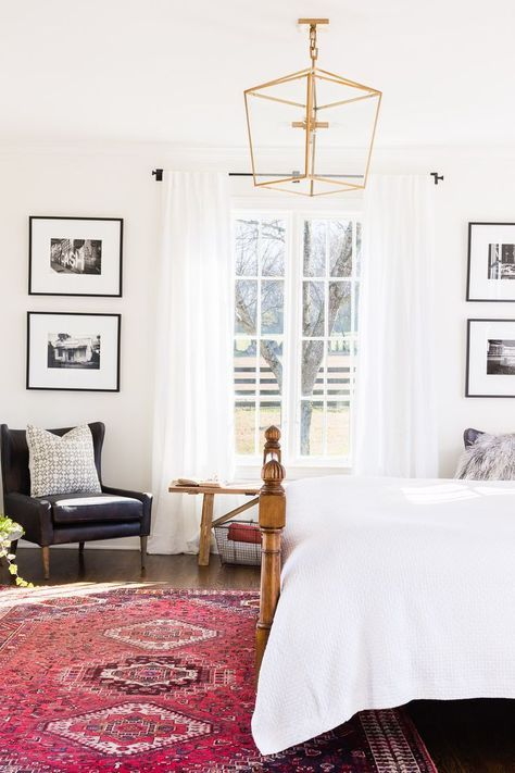 white bedroom with red persian rug | Home bedroom, Master bedroom .