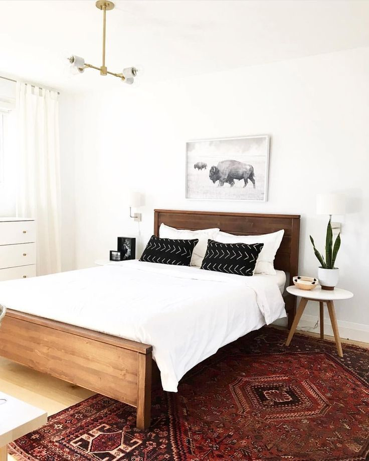 Bedroom | White Decor with Beautiful Red Persian Rug - pinned by .