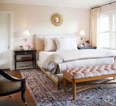 Caitlin Wilson | Decorating with Persian Rugs | Pale pink bedrooms .