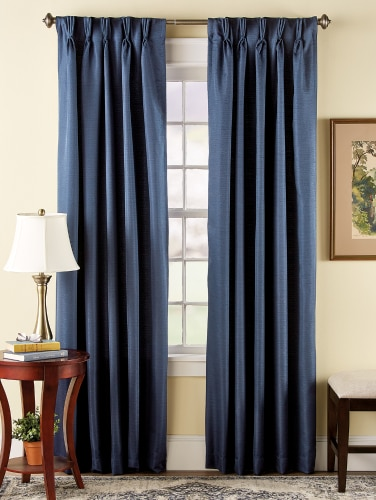 Woven Pinch Pleat Back Tab Curtain Panels, 25 in. Wi