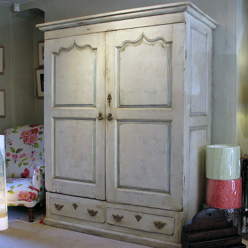 A Painted Pine Wardrobe Or Press - Antiques Atl