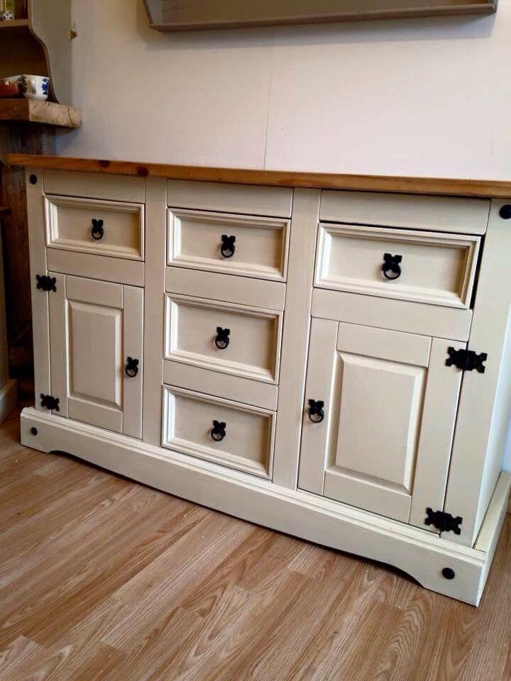Mexican pine painted sideboard , painted using chalk paint .