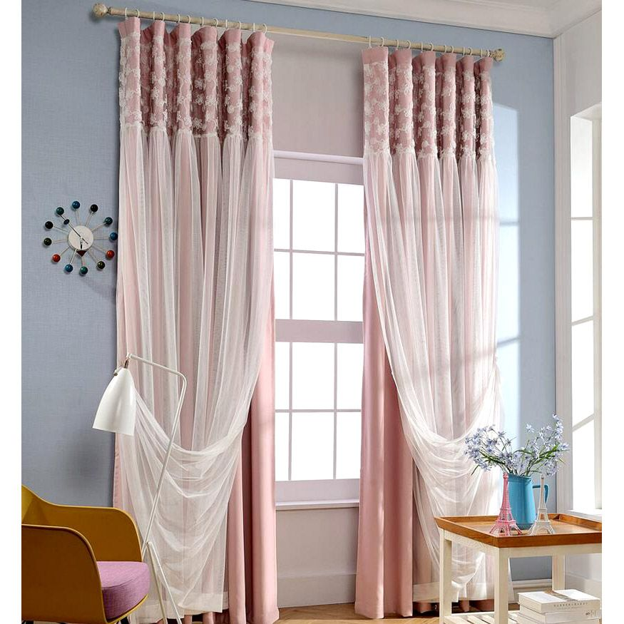 Romantic Pink Blackout Fabric And White Lace Curtain | White lace .
