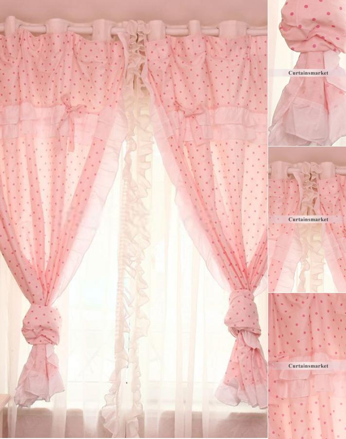 Pink lace curtains in Sweet Style Designed for Girls' Bedroo