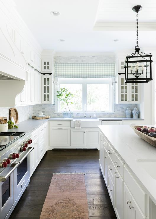 Blush Pink Rug in White Gray and Blue Kitchen - Cottage - Kitch