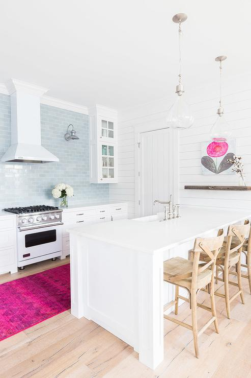 White Kitchen with Blue Tiles and Hot Pink Rug - Eclectic - Kitch