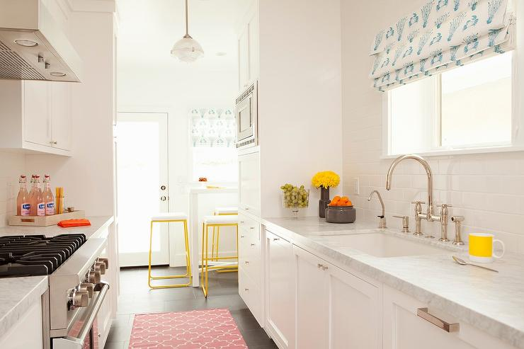 White Galley Style Kitchen with Pink Rug - Transitional - Kitch