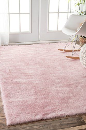 Faux Sheepskin Cloud Solid Soft and Plush Pink Shag Area Rugs, 3 .