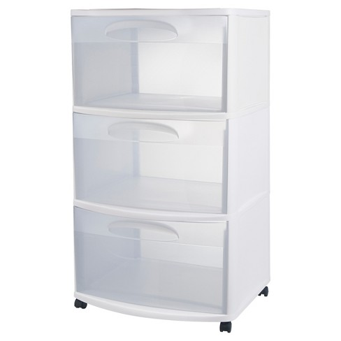 Sterilite Three Drawer Wide Cart With Clear Drawers : Targ