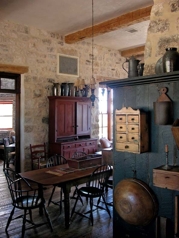 Rustic Kitchen for a Texas Farmhouse   Primitive dining rooms .