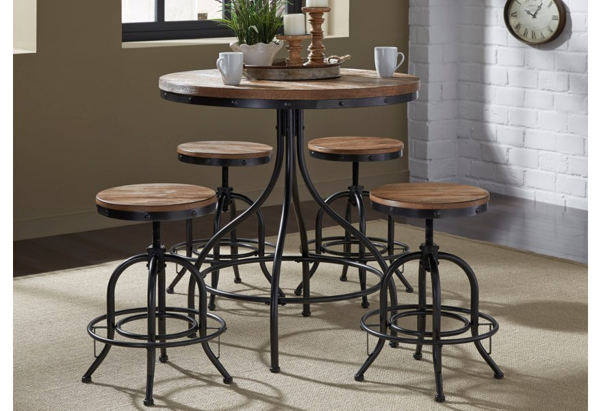 Liberty Furniture Vintage Dining Series 5-Piece Counter Height Pub .